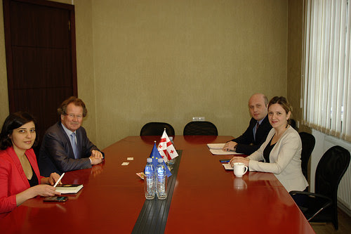 Council of Europe expert and staff member meeting with the Public Defender's Office representative on the independent investigative mechanism