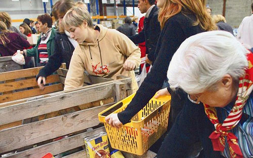 Women at a food bank