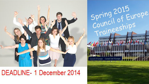 Spring 2015 Council of Europe Traineeships - Don't miss the 1 December deadline!