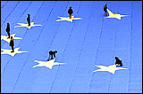Twelve children, who placed the twelve stars on a giant flag spread out on the lawn of the Palais de l'Europe