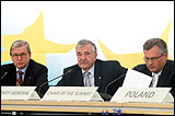 From left to right: Ren� van der Linden, Parliamentary Assembly President, Terry Davis, Secretary General, and Aleksander Kwasniewski, President of Poland