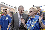 Terry Davis, Council of Europe Secretary General at the 12th Schuman parade on the streets of the Polish capital city Warsaw
