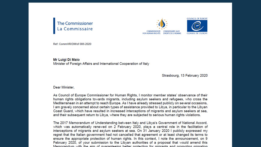 Commissioner urges Italy to suspend co-operation activities with Libyan Coast Guard and introduce human rights safeguards in future migration co-operation